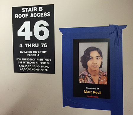 posters on wall in stairwell