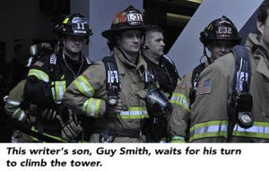 This writer's son, Guy Smith, waits for his turn to climb the tower.