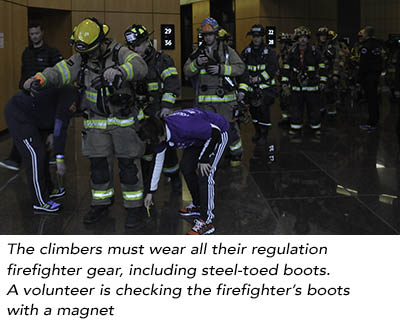 Checking firefighter's boots