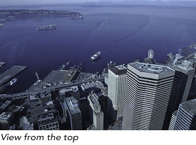 View from the top of the Seattle Columbia Center building.
