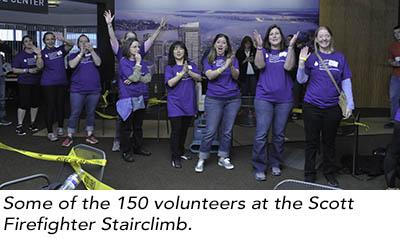 150 volunteers work hard to make the Scott Firefighter Climb a success.