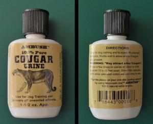 A bottle of cougar urine