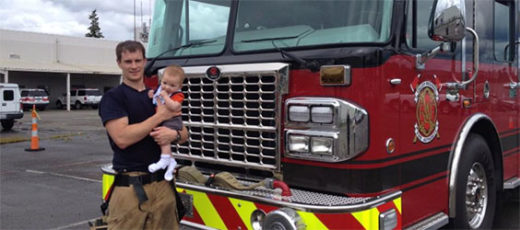 Fireman with his baby boy